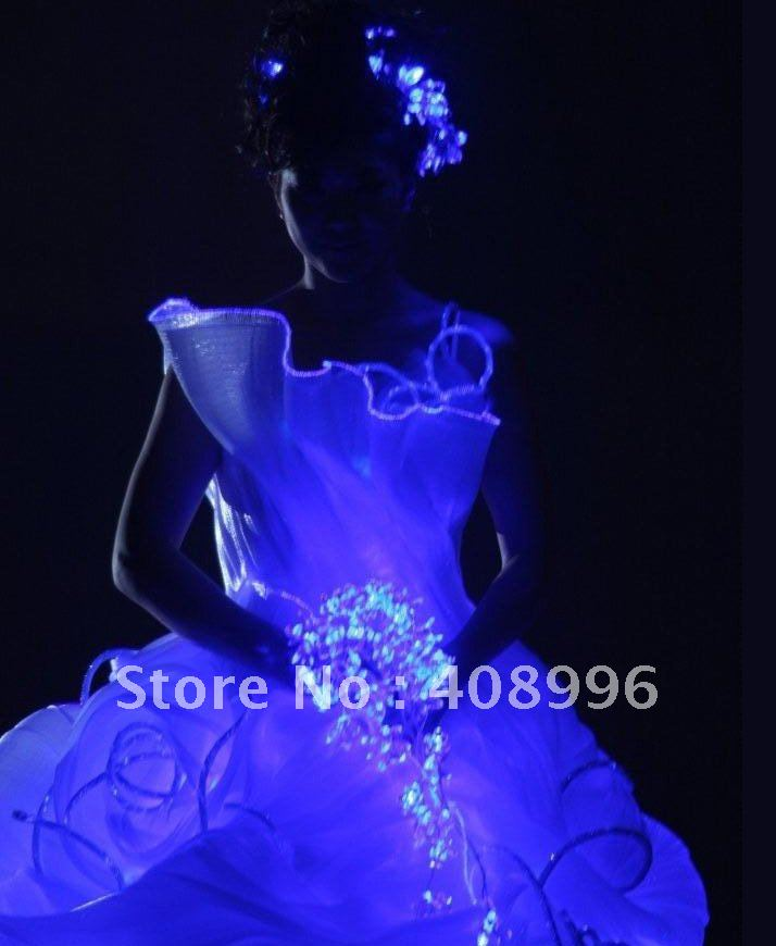 de fibra óptica luminosa atuendo formal para la noche de fiesta