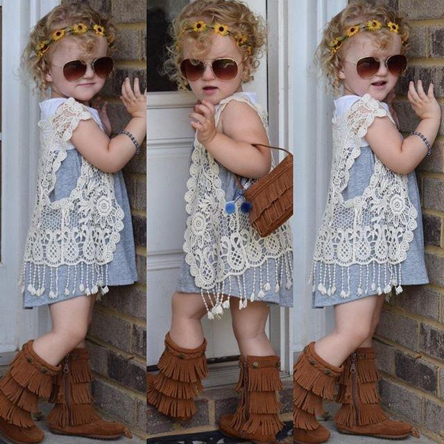 Fashion Infant Toddler Kids Baby Girls Vest Crochet Lace Flower Hollow Cardigan Casual Tops Tassel Waistcoat