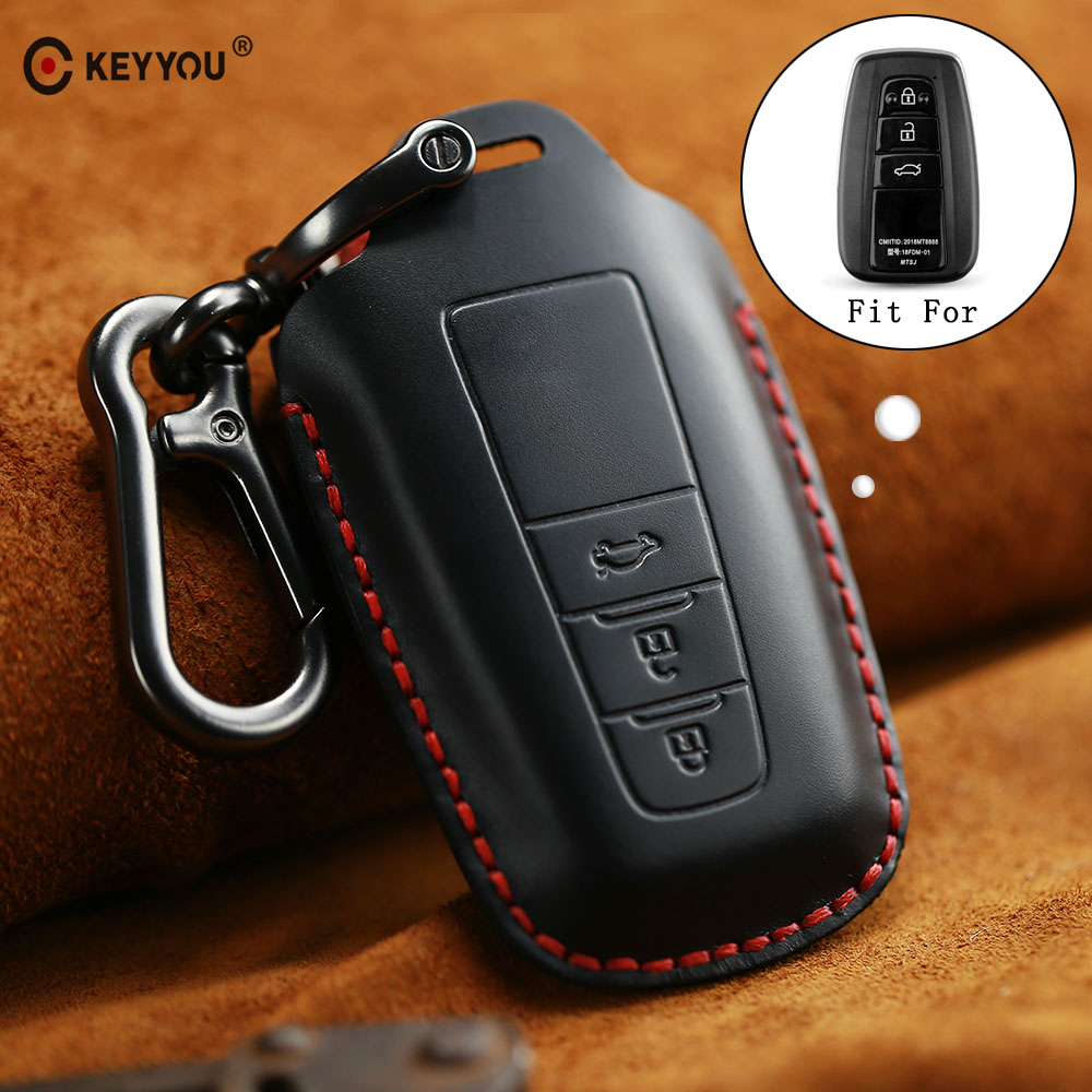 KEYYOU New Genuine Leather Car Key Holder Cover Case With KeyChain For Toyota Camry Corolla C-HR CHR Prado 2018 Key Protection