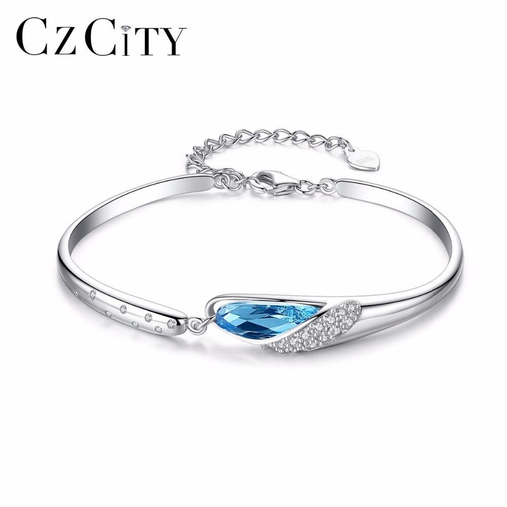 CZCITY Marque Charme Romantique Bleu Autriche Cristal Femmes 925 Sterling Argent Bracelet Femme Bracelets & Bangles Beaux Bijoux