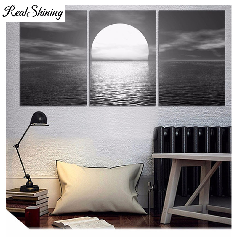 Home & Garden Arts,crafts & Sewing Brilliant Nordic Decor Diy Diamond Painting Cross Stitch 5d Black White Sea Big Moon Night Square Round Diy Diamond Embroidery 3pcs Fs5066 Products Hot Sale