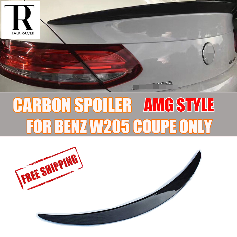 W205 Carbon Spoiler for <font><b>Mercedes</b></font>-Benz C200 C220 <font><b>C300</b></font> C43 C63 AMG <font><b>Coupe</b></font> 2 DOOR 2015 - 2022 Carbon Fiber Rear Trunk Wing Spoiler image