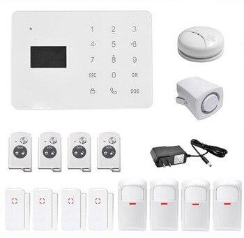 433Mhz Wireless GSM Alarm System With Smoke Sensor 4 PIR Detector 4 Door Alarm Sensor