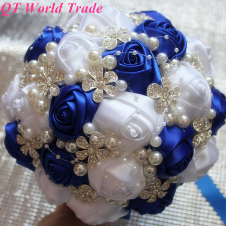 100 handmade royal blue white rose silk wedding decorative flowers 100 handmade royal blue white rose silk wedding decorative flowersdiamond pearl ornament bridal bouquet 20 color for custom in artificial dried flowers mightylinksfo