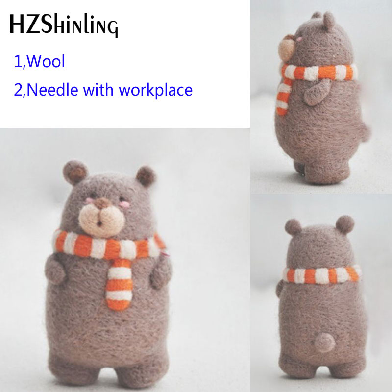 2019 Creative Cute Happy Bear Toy Doll Wool Felt Poked Kitting Non-Finished Handcarft Wool Felting Material Package