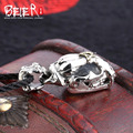 Beier new store 100% 925 thai silver sterling skull pendant necklace trendy fashion jewelry free give rope  A2166