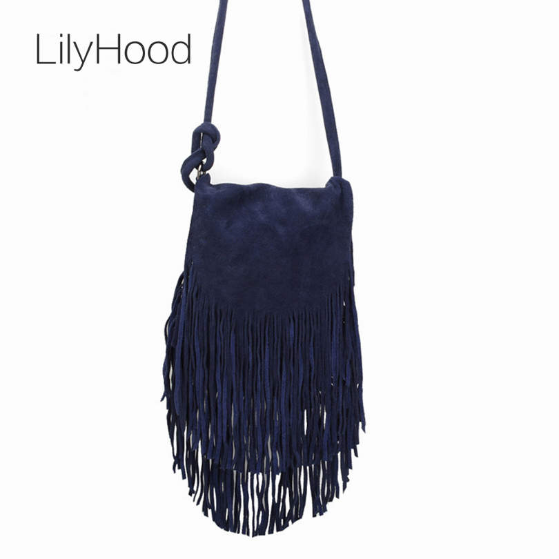 LilyHood 2017 Women Genuine font b Leather b font Suede Shoulder Bags Music Festival Fringed Tassel