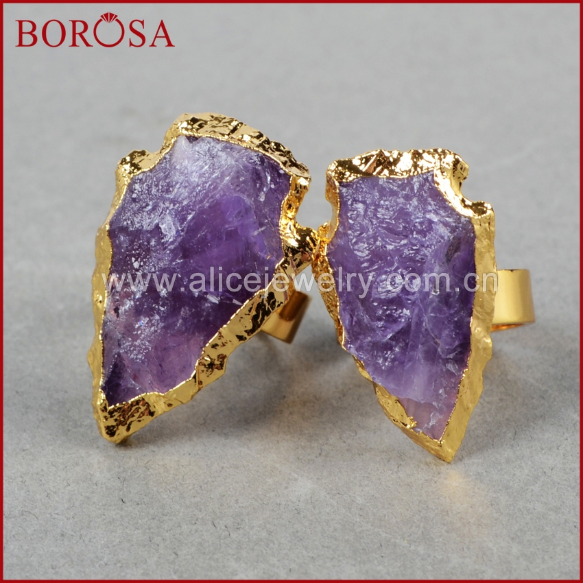 BOROSA <font><b>Raw</b></font> Purple <font><b>Crystal</b></font> <font><b>Ring</b></font> Arrowhead Natural Purple <font><b>Crystal</b></font> Quartz Stone Gold <font><b>Ring</b></font> Not Adjustable Gems for Women G0698 image