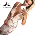 Leiouna 2017 New Sexy Macacão Mulheres Jumpsuit Chiffon V Profundo Decote Em V de Bling Partido Playsuit Bodysuit Curto Backless Femme Bodys