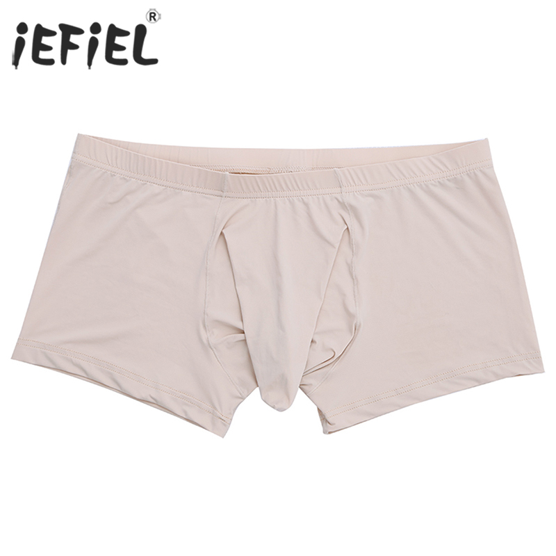 iEFiEL Sexy Lingerie Gay Panties Boxer Shorts for Mens Underwear Underpants with Closed Penis Sheath Jockstraps Underwear