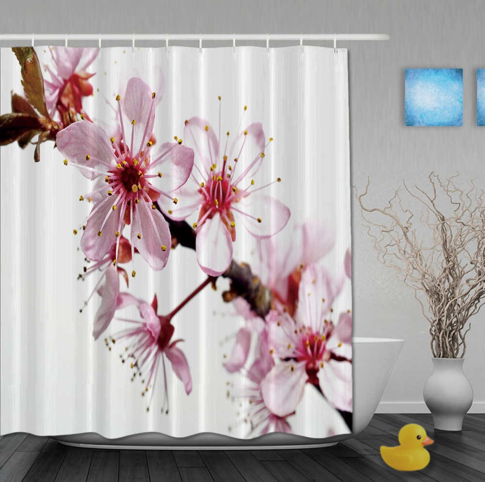 Custom Cherry Blossoms Pink And White Color Luxury Curtains Waterproof  Fabric With Hooks High Quality Bathroom
