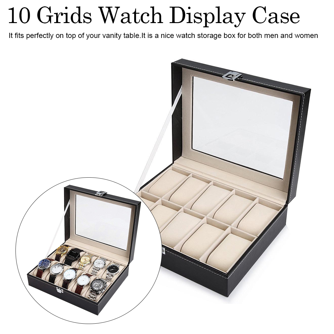 Montre boîte d'affichage Multi fonction montres support de la boîte boîtier pour bijoux cher montre stockage montre-bracelet boîte