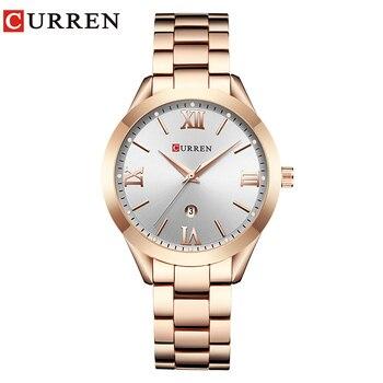 CURREN Simple  Fashion Stainless Steel Analog Quartz Wrist Watch Calendar Female Dress Watch Women Clock Relogio Feminino 7