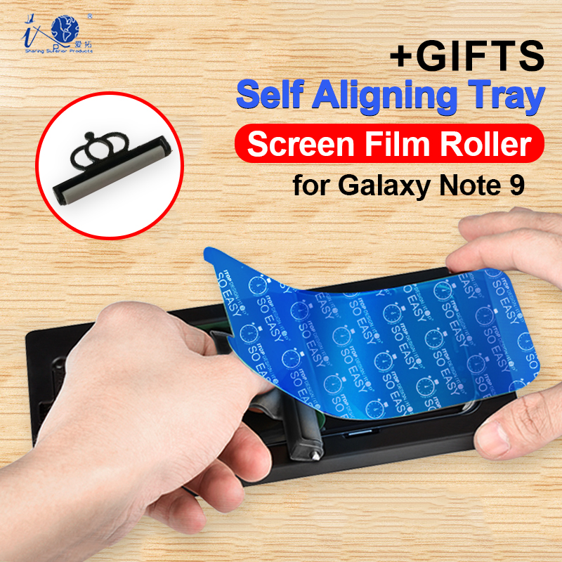 Full Cover Screen Protector for Samsung Galaxy Note 9 Curved Edge Clear Soft TPU Protective Film with Alignment Tray <font><b>Roller</b></font> Tool