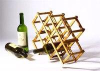 Umiwe Creative Wine Holder Home Bar Beer Wine Stand Foldable 10 Bottle Wooden Wine Rack Organizer