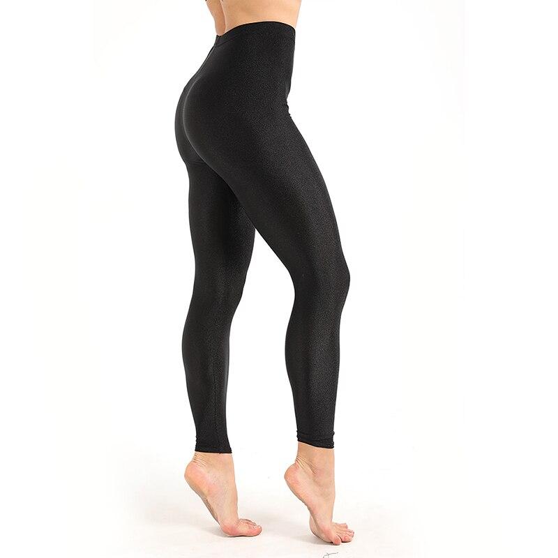 Women's Workout Leggings Casual Shiny Glossy Legging Female Fiteness Leggins Plus Size M-XXXL Black Solid Fluorescent Leggings