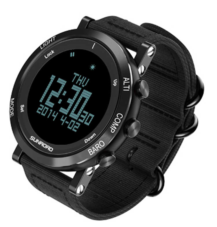 SUNROAD Outdoor Men &Women Sports Digital Watch FR851 Barometer Altimeter Compass Pedometer Time Date Watch With Nylon Strap