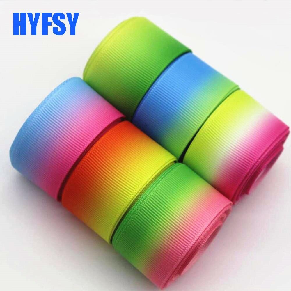 Hyfsy 10035 25 мм Градиент Радуга лента 10 ярдов DIY Подарочная упаковка ручной волосы луки корсажная лента