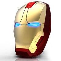 Iron Man Przycisk Cicha Mysz Bezprzewodowa Mysz Gaming Mouse Myszy Komputerowe Gamer Kliknij 800/1200/1600/2400 DPI Regulowany komputera
