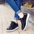 Весна осень Лакированной кожи Женская Обувь белый, серебро, черный Большой ярдов туфли На Платформе Британский стиль повседневная обувь оксфорд обуви