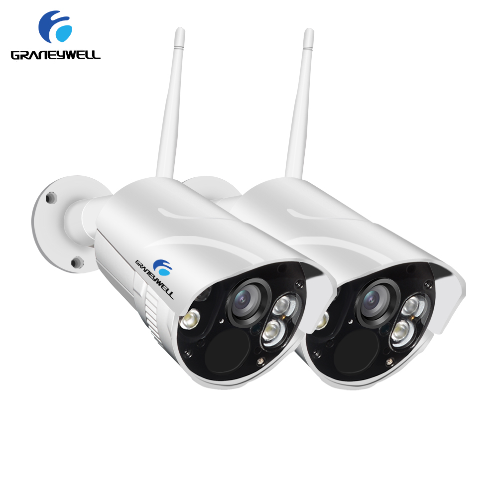 Graneywell Wifi IP Camera 1080P Smart Color NightVision Outdoor Wireless Weatherproof Indoor Security SD Card Camera(2 packs)