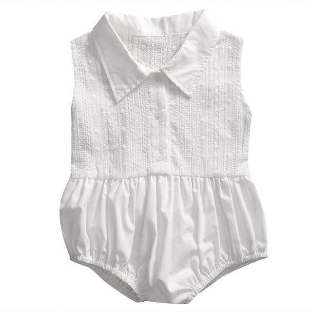 e9fba841a26b Newborn Baby Girl Clothes Cute Infant White Lace Romper Toddler Kids  Turn-Down Collar Jumpsuit