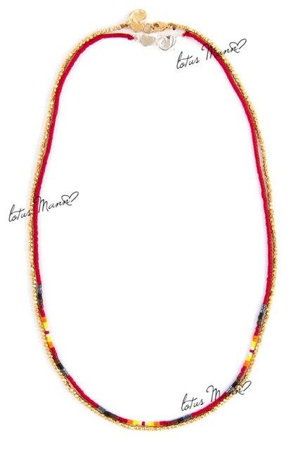 Lotus Mann Sehr feinen roten reis perlen mit silber nugget woven zwei  schichten der halskette benmingnian ab186f1cb6