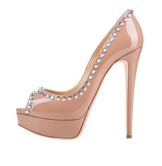 Moraima Snc Blush Rivets Peep Toe Heels Platform Pumps Stiletto Heels Sexy Shoes Woman Nude Patent Leather Party Wedding Shoes