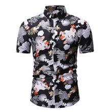 Casual Blouse Men Floral Short sleeve Hawaiian Shirts Mens Flower Dress Black Blue