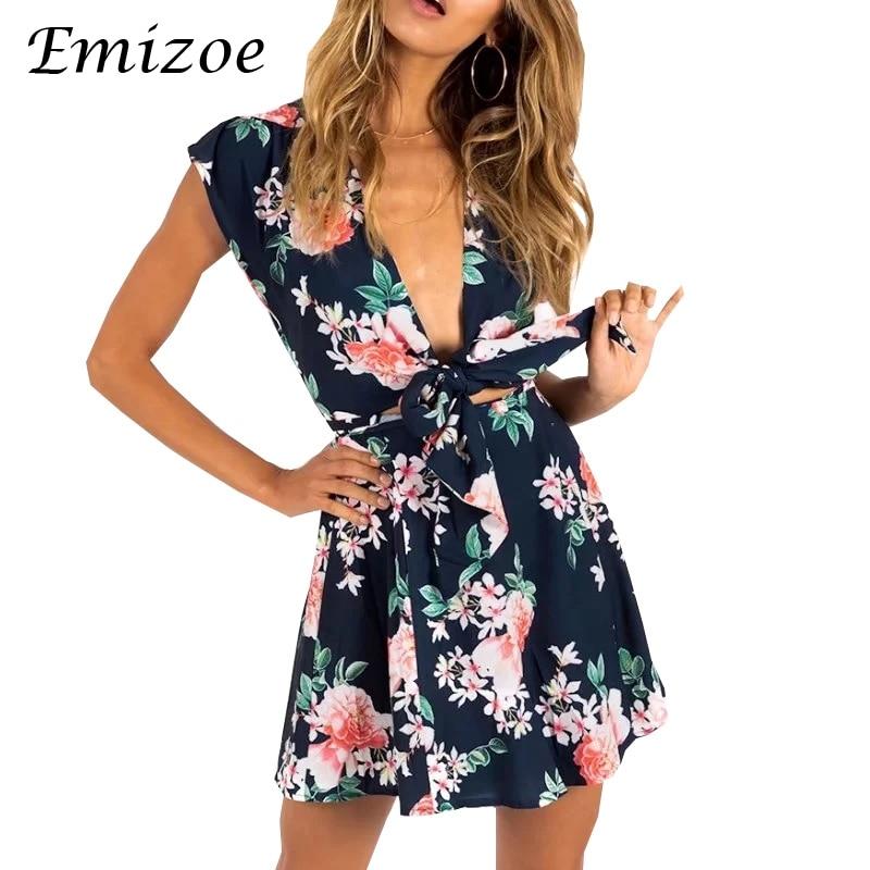 Emizoe V neck sexy floral print summer dress women Boho beach short desses female Sleeveless bow mini chiffon dress 2018
