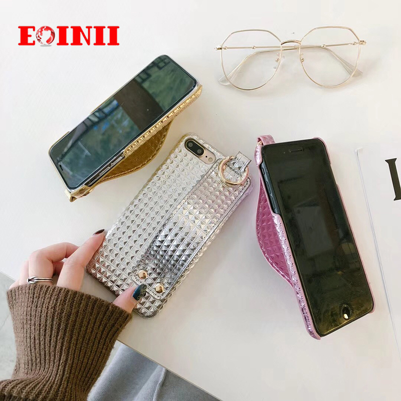 Fashion Wrist strap Rivet Bling Mobile Phone Case For iPhone X 6 S 6s 8Plus 7 7Plus Cases Hot Sale Cortical Luxury phone case
