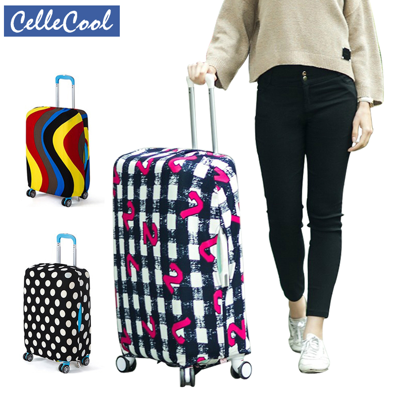 CelleCool High Qualit Fashion Luggage Cover Travel Elasticity Travel Luggage Dust Cover  Protective Suitcase Cover Trolley Case
