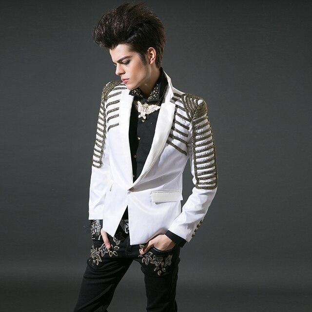 Negro blanco bordado material de traje para hombre trajes de teatro rendimiento para cantantes hombres chaqueta de abrigo chaqueta moda estilo de la estrella