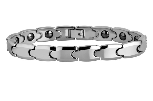 Gift For birthday Polished Shiny Tungsten Carbide with Germanium  Magnetic Beveled Edges Link Bracelets /TUBR0045L