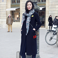 Breve de Alta Qualidade Casaco de 2016 Victoria Beckham Turn-down Collar Moda Manga Comprida Apliques Bordados Senhoras Topshop Casaco Novo