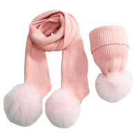 Fashion Wool knit Baby Hat Scarf set with Fox Fur Balls Autumn Winter Children Hat Scarf Kids Caps for Girls Boys Warm Hats set