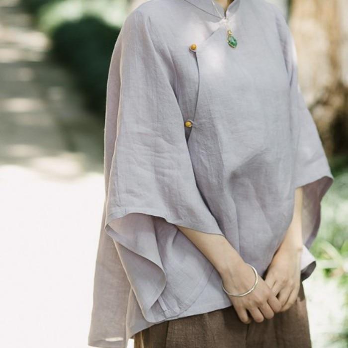 Femmes Ramie chemises Style chinois Blouses trompette manches mince couleur unie Jade perles bouton hauts Vintage chemises