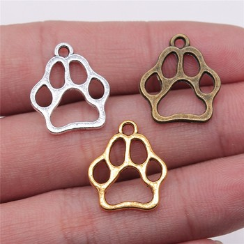 WYSIWYG 20pcs 19x17mm 3 Colors Antique Gold Silver Color Bronze Hollow Dog Paw Charms For Jewelry Making