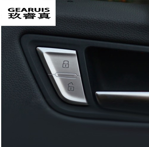 Car styling Door Unlock Switch Button Cover Trim Decal Chrome Handle Key Stickers Interior auto Accessories For Audi A4 B8 Q5 A6
