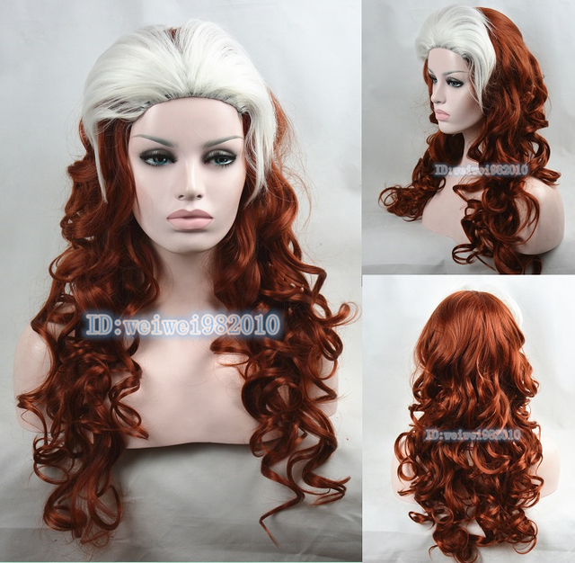 Newest X Men Rogue Brown Red White Mixed Long Wavy Cosplay Wig Free Shipping