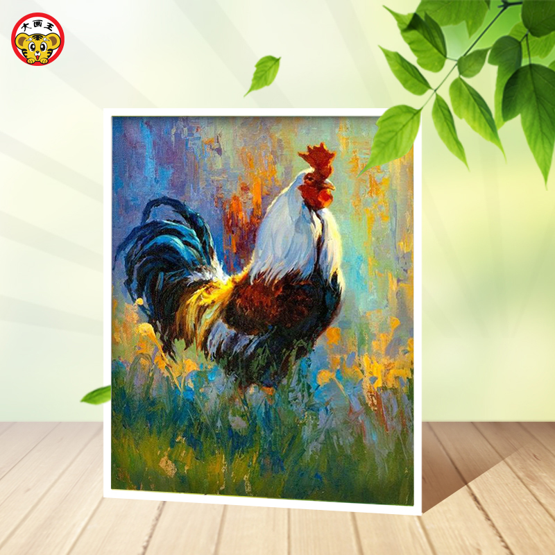 Diy oil painting picture by numbers with kits drawing hand painted picture Wall Decor Chicken rooster auspicious,coloring number
