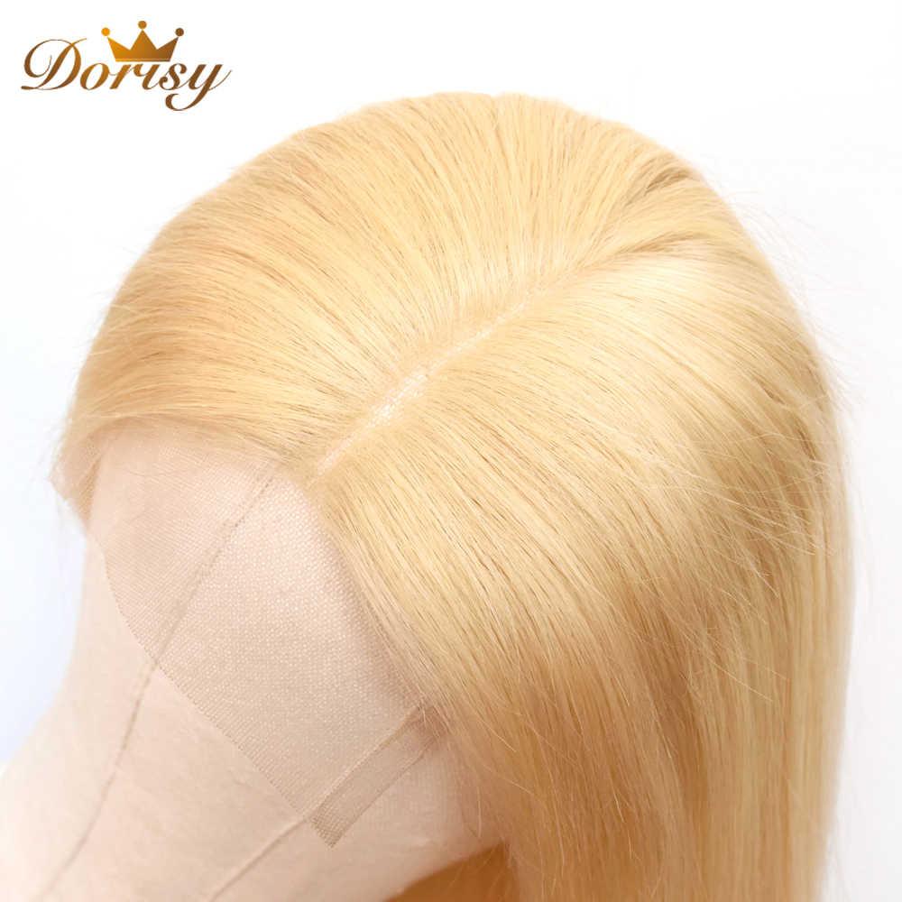 613 Bronde человеческие волосы парики 4*4 шнурка Закрытие парик бразильские прямые человеческие волосы блонд цвет кружева Закрытие парики Dorisy remy волосы