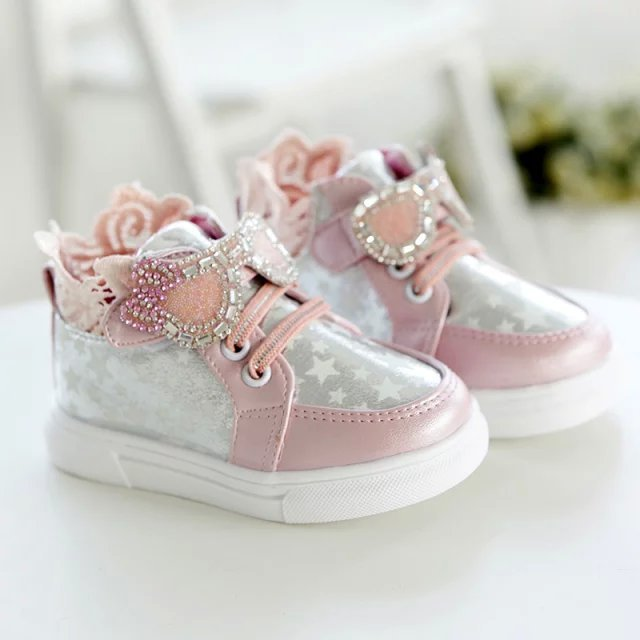 Estaciones elegantes bebé girls sneaker encaje bordeado princesa baby girls shoes para 1-2yrs causal lienzo infantil zapatos del niño caliente