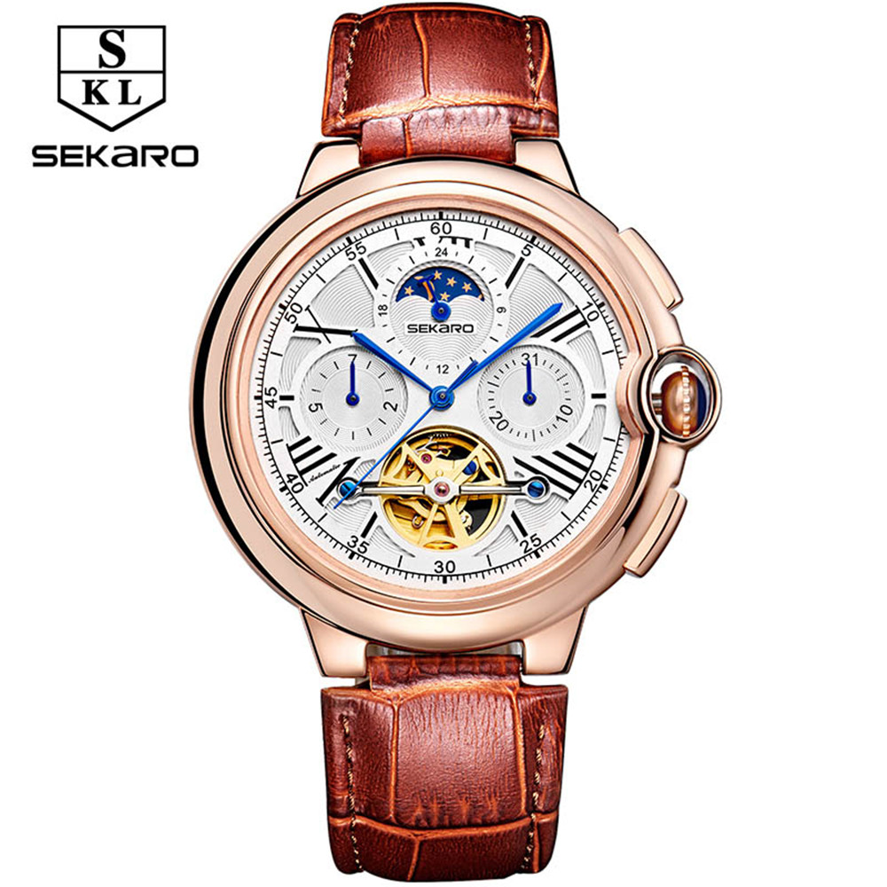 2017 Men Watches Luxury Top Brand SEKARO Sport Mechanical Watch Gold Clock Men Tourbillon Automatic Wristwatch With Moon Phase luxury brand automatic tourbillon watch calendar date day display gold case male clock sport mechanical tag hour watches men