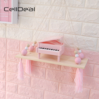 CellDeal Nordic Style Beads Colorful Wood Shelves with Tassel Wall Clapboard Decoration Children Room Display Stand