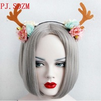 Богемия Trend небольшой свежий рога ленты для волос елизаветинцы уши цветок оголовье девушка отпуск сладкий цветок аксессуар для волос FG0167