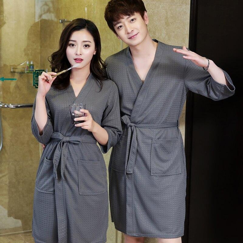 Lovers Summer Water Absorption Fashion Towel Bath Robe Men Sexy Kimono Waffle Bathrobe Mens Plus Size Dressing Gown Male Robes