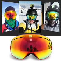 UV Ski Goggles 2 Layers Anti Fog Mask Ski Glasses Men Women Snowboard Eyewear Detachable Spherical
