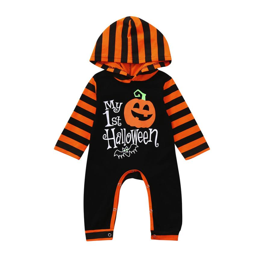 Arloneet Infant baby rompers halloween costume Toddler Baby Girls Boys Pumpkin Hoodie Romper Halloween Clothes Jumpsuit l0808 2017 vintage men hunter letters long brown pu leather wallet purse card holder clutch wallets gifts lt88