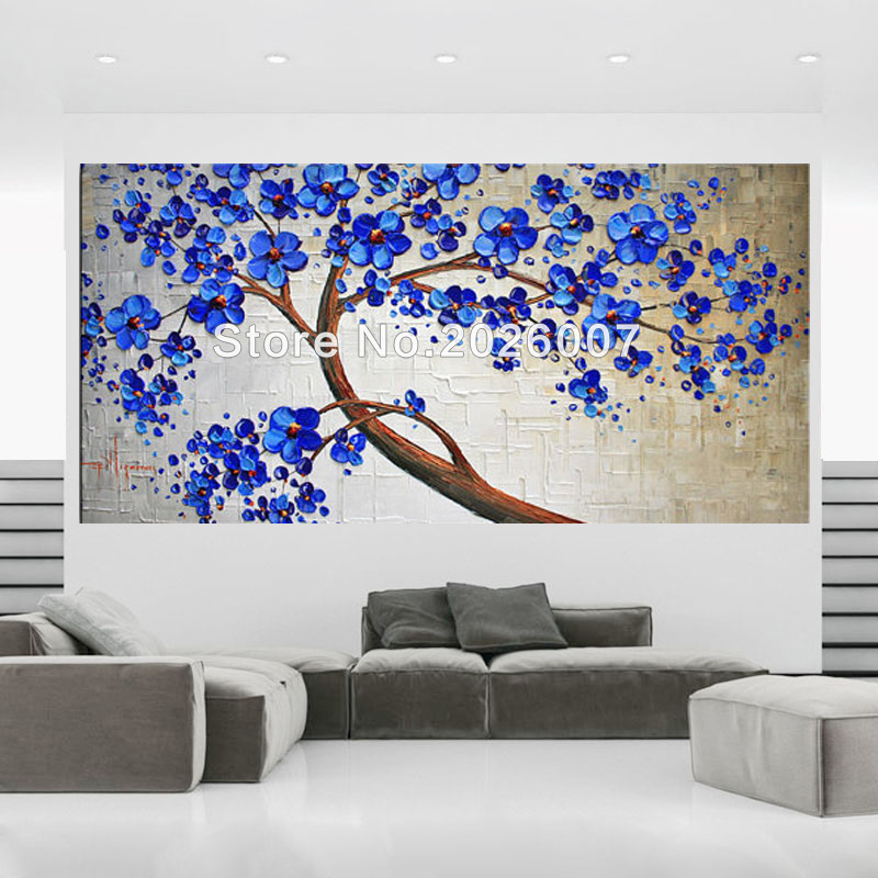 Hand painted Blue Tree White Blue wall decor art picture red flower thick palette knife oil painting on canvas for living room